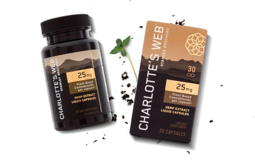 Charlottes Web 25mg Box and bottle with hemp bud