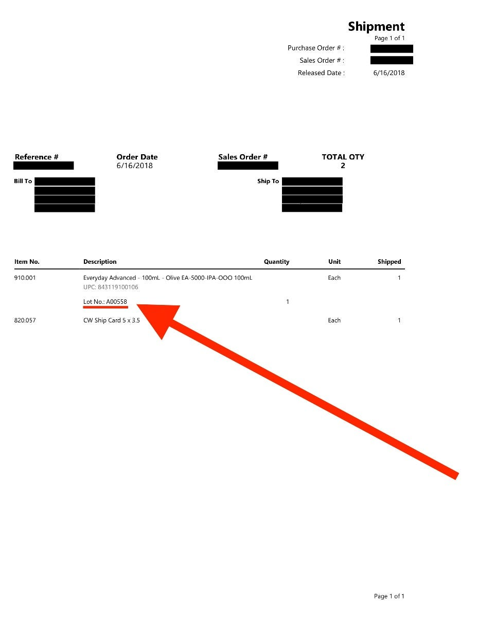 Packaging Slip Certificate of Analysis number